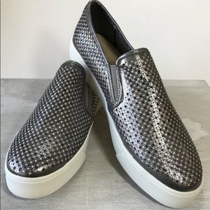 Shoes - Pewter slip on tennis shoe- size down!